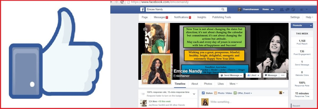 Chennai Female Emcee Nandy Facebook Page