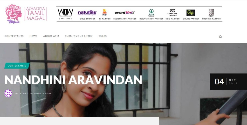 Chennai Model Nandhini taking part in Azhagiya Tamil Magal 2015 beauty and talent contest