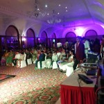 Chennai Wedding Emcee Nandhini and Cohost Thamizharasan hosting Sangeet of RaviPrasad Unit