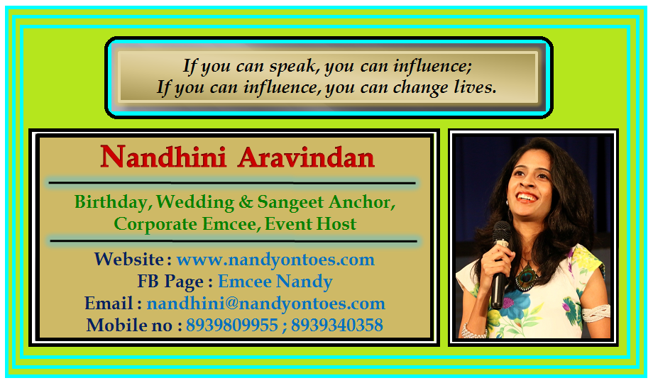Chennai Event Emcee Nandhini Contact details