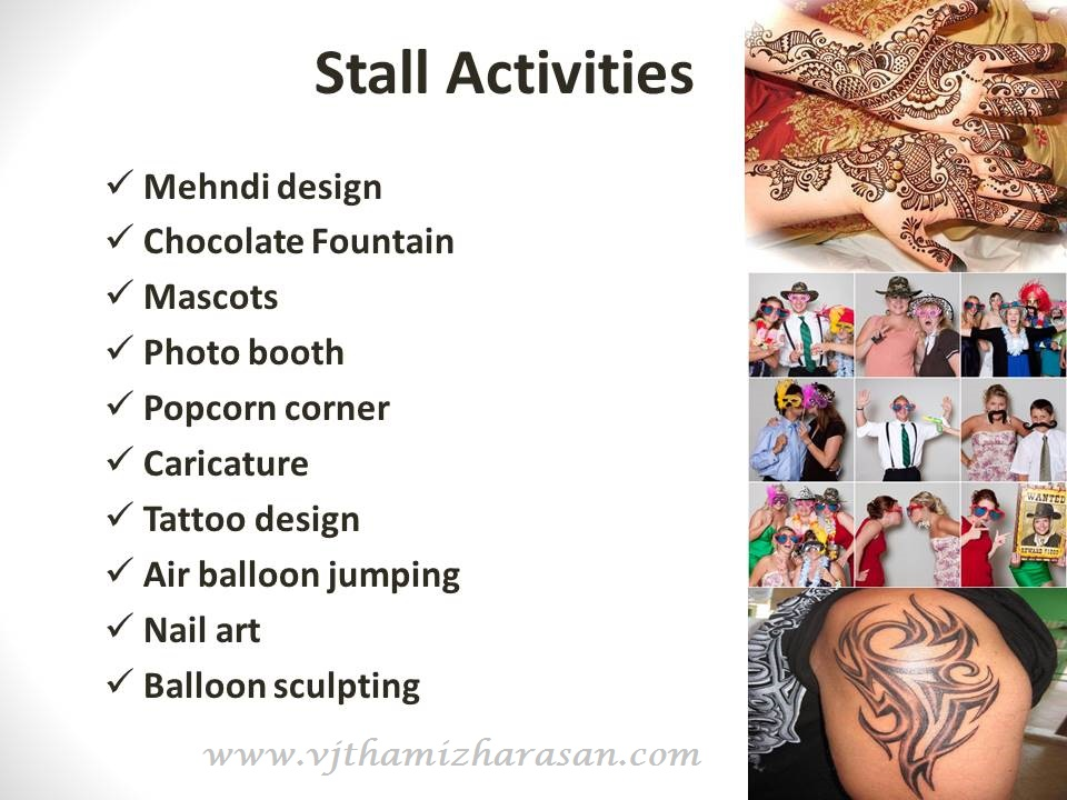 List of stall Activities